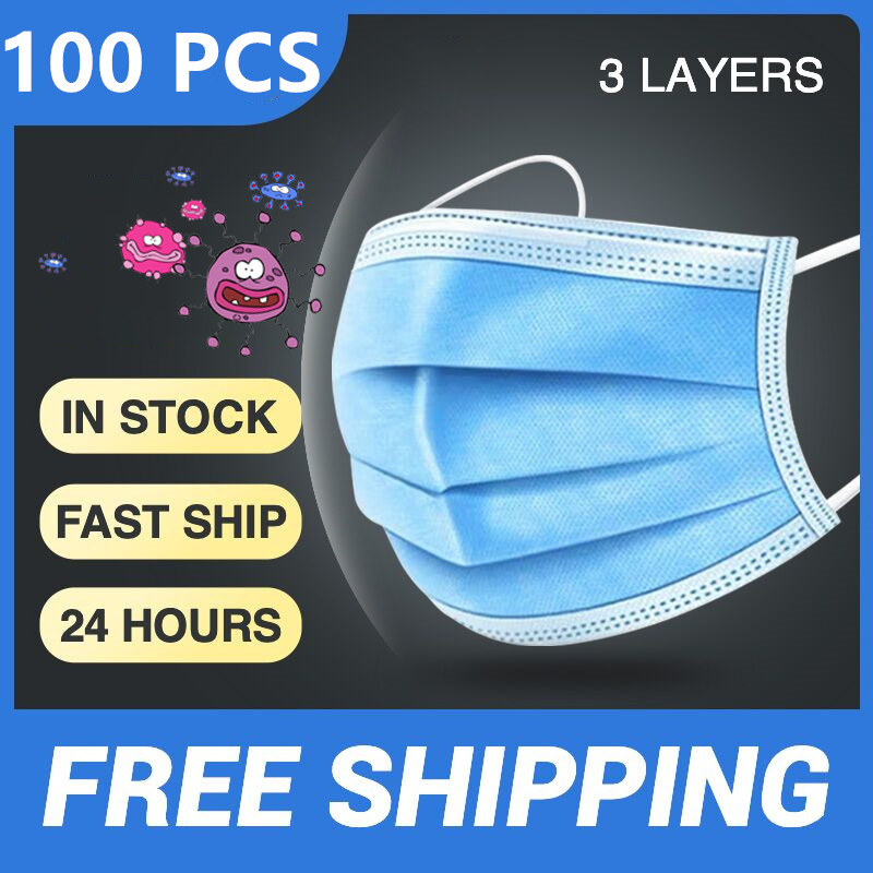 Hot Sale 10/20/50/100 PCS 3 Layers Face Mouth Masks Non Woven Disposable Anti-Dust Earloops Masks Safety Protective Masks