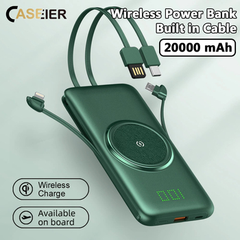 CASEIER Power Bank 20000mAh Wireless Portable Powerbank 4 Cable 10000mAh Banks Fast Charge For Xiaomi Carica Batteria Cellulare