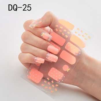 14pcs/sheet Glitter Gradient Color Nail Stickers Nail Wraps Full Cover Nail Polish Sticker DIY Self-Adhesive Nail Art Decoration 96