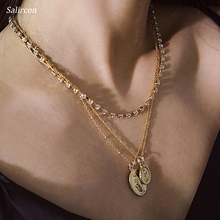 Salircon Punk Hot Fashion Necklace Double Pendant Geometric Elliptic Alloy Copper Aluminum Chain