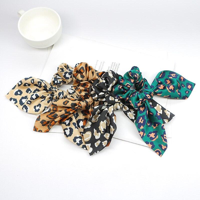 New 1PC Fashion Girls Summer Leopard Scrunchie Rubber Bow Hair Rope Ring Elastic Hair Bands Hair Accessoiries For Women