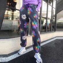 Plus pantaloni da donna in Cashmere autunno inverno donna pantaloni stampati moda coreana a vita alta Streetwear pantaloni da Jogger larghi femminili