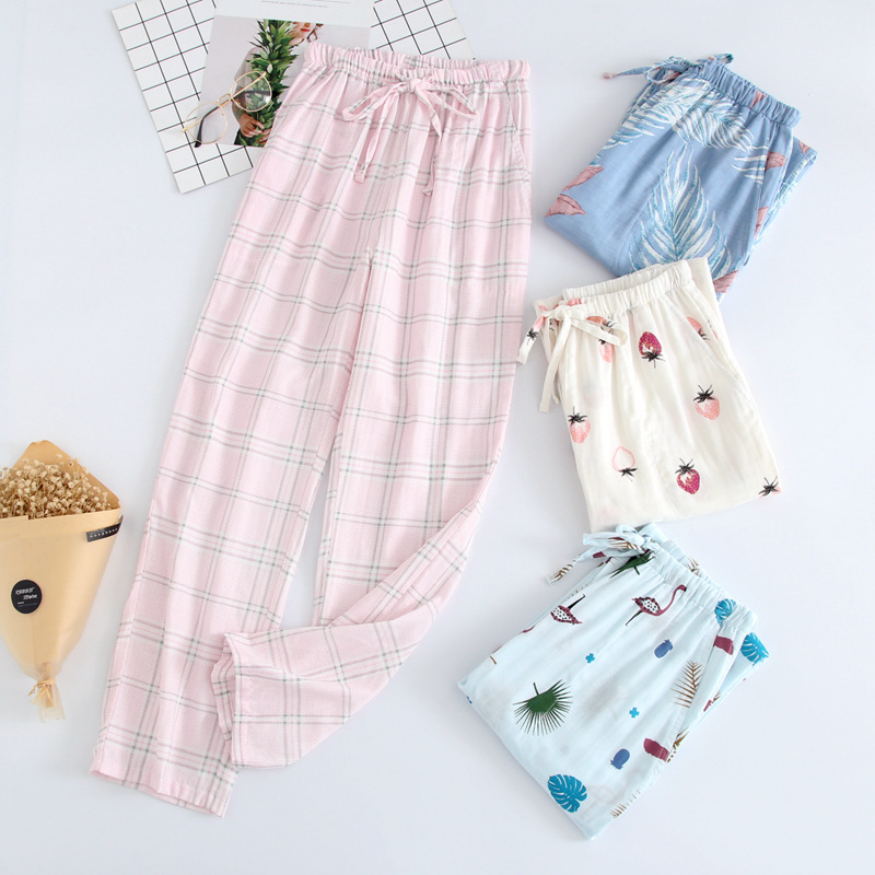 100% Cotton Gauze Home Pants Ladies Thin Pants Multicolor Large Size Spring And Autumn Summer Household Trousers Casual Loose C
