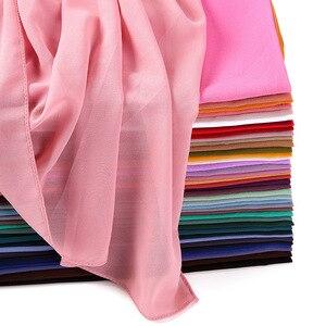 Image 5 - Women Plain Bubble Chiffon Scarf/Scarves Hijabs Muslim Hijabs Turban Headband Cloth Wrap Solid Color Shawls Headband Maxi Shawl