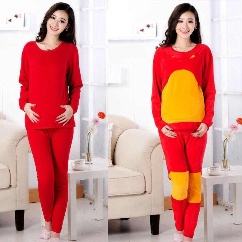 Plus-sized Size Maternity Clothes Winter Warm Lactation Garment Double Layer Plus Velvet Thick Tracksuit Set