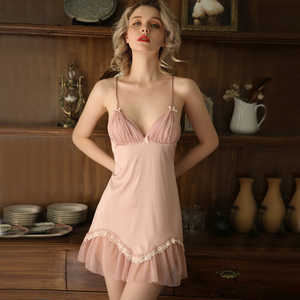 Image 1 - Spring Women Ice Silk Beautiful Back V neck Nightgown Home Clothing Temptation Night Dress Nighties Lace Floral Nightwear