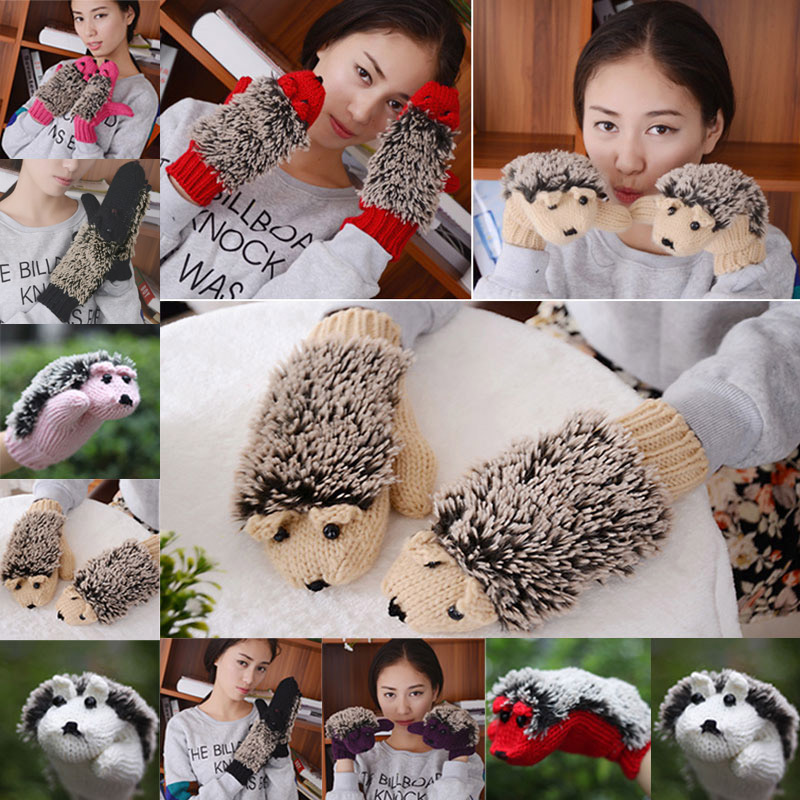 New Hot Cute Hedgehog Gloves Women Winter Warmer Knitted Crochet Wrist Cartoon Fleece Mittens Outdoor Gifts SMR88