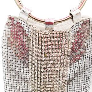 Image 2 - Boutique De FGG Dazzling Silver Crystal Tassel Women Aluminum Evening Purse Cocktail Party Wristlets Clutch Handbag