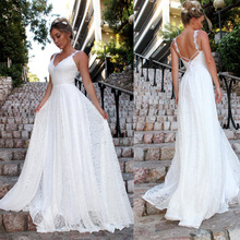 European and American new women's sexy V-neck sling lace wedding dress