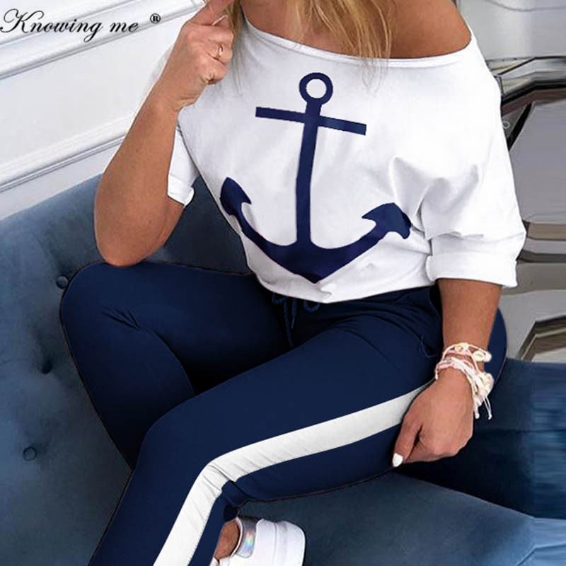 Women Boat Anchor Print Two Piece Set Tracksuit Lady Spring sexy off shoulder Tops And Elastic Waist Long Pants Set Lounge Wear