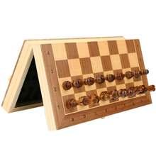 Складной деревянный магнитный Шахматный набор с валяной игровой