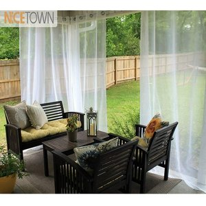 NICETOWN Single Panel Waterproof Garden Decoration Outdoor Sheer Curtains for Porch Exterior Voile With Sliver Ring Grommet(China)