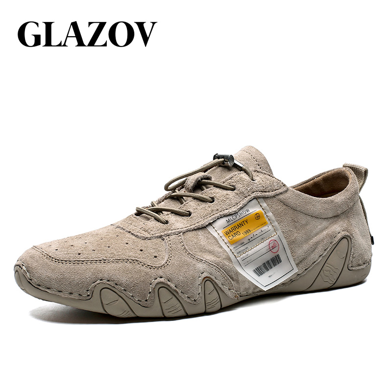 GLAZOV Summer Suede Leather Mens Loafers Luxury Brand Top Men's Casual Shoes Slip On Boat Shoes For Men Moccasins Chaussure
