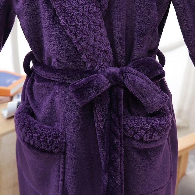 Unisex Thermal Flannel Extra Long Bathrobe 5
