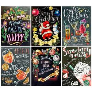 5d Diy Diamond Painting Blackboard Full Square/Round Diamond Embroidery Cross Stitch Cartoon Christmas Decoration for Home