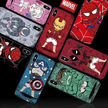 Para iphone 11 pro max teléfono caso marvel hombre araña Hombre de Hierro de batman para iphone XS XR XS MAX 6 S 6 7 8 plus capa fundas
