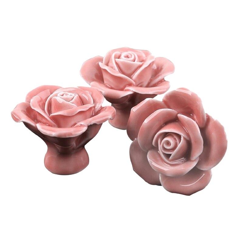ELEG 10 Pcs Ceramic Vintage Floral Rose Flower Door Knobs Handle Drawer Kitchen + Screws (Pink) Cabinet Pulls     - title=