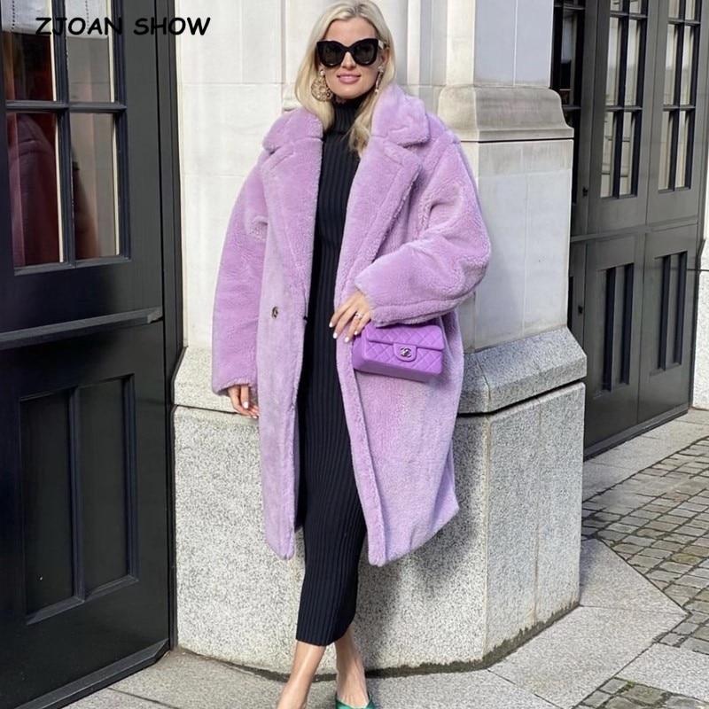 Зимнее стильное пушистое пальто с отложным воротником из искусственного меха пушистая длинная куртка фиолетовая Женская дубленка пушистые длинные куртки сохраняют тепло верхняя одежда|Куртки из искусственного меха| | АлиЭкспресс - Трендовые вещи из сериала «Эмили в Париже»