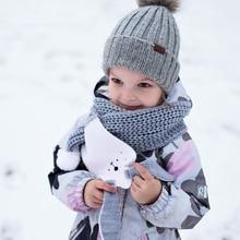 Милый детский зимний шарф с мультяшным рисунком; кашемировый вязаный шарф с заячьими ушками для девочек и мальчиков; Детские шарфы; шейные платки и обертывания