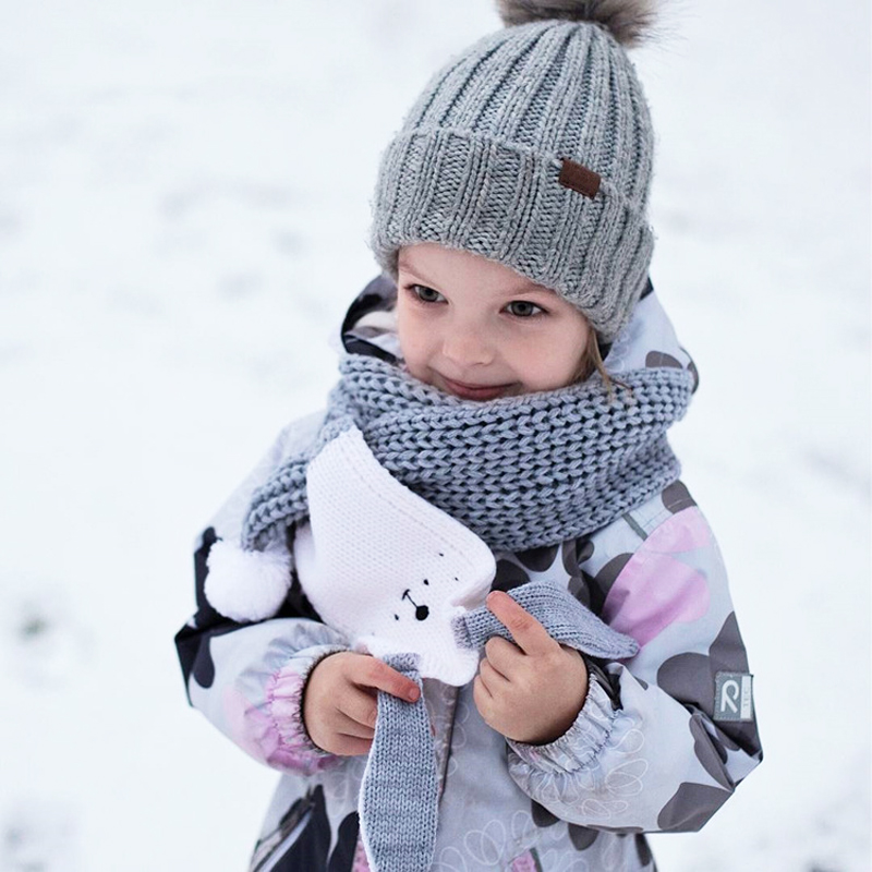 Cute Cartoon Kids Winter Scarf Rabbit Ear Girls Boys Cashmere Knit Children's Scarf Baby Scarves For The Neck Shawls And Wraps