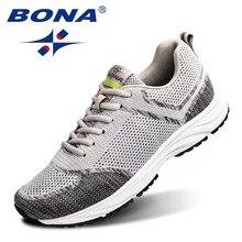 Bona 2020 new Men mesh flying woven shoes breathable sports