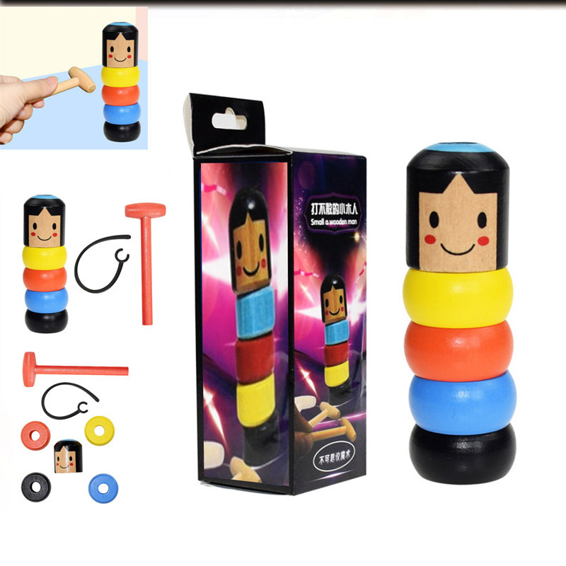 NEW  Immovable Tumbler Magic Stubborn Wood Man Toy Magic Tricks Close-up Stage Magic Accessories Funny Unbreakable Toy