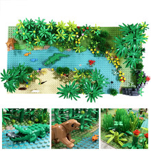 Floresta virgem 10x20 polegadas tropical floresta tropical base 32x64 pequeno ponto selva bloco de construção tropischer regenwald