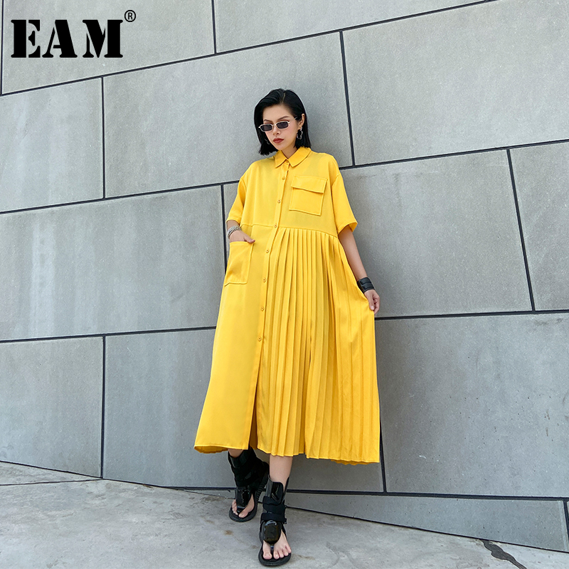 [EAM] Women Yellow Pleated Split Joiint Big Size Shirt Dress New Lapel Half Sleeve Loose Fit Fashion Spring Summer 2020 1U066