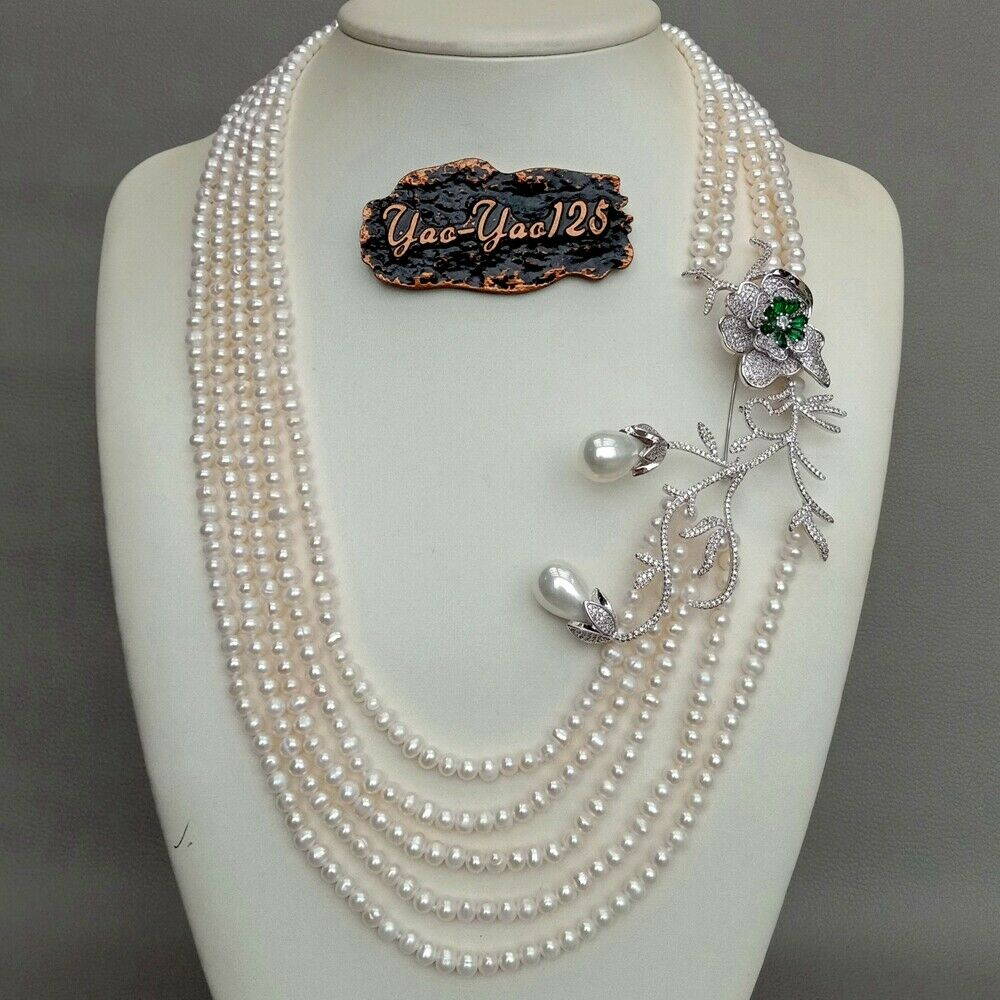 23'' 5 Strands Cultured White Pearl Necklace Cz Pave pendant