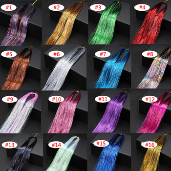 16 Colors 90cm Party Holographic hair accessories Glitter Hair Tinsel Sparkle Extensions 150Strands Bling twinkle hair extension
