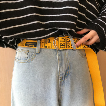 Fashion Canvas Belt Harajuku Letter Printed Student Women Men Jeans Long Belts Double D Ring Buckle white Waistband Z30