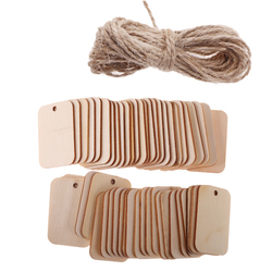 50pcs Unfinished Wood Tags Wooden Gift Tags Hanging For Wine Decor Wedding