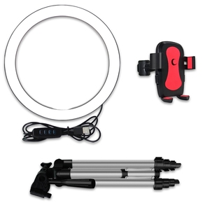 Image 3 - Top Angebote LED Selfie Ring Licht mit Telefon Halter Fotografie Dimmbare Youtube Video Live Foto Studio Licht USB Stecker (16Cm)