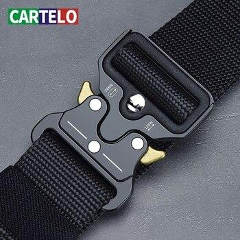 CARTELO Men's belt outdoor hunting metal tactical belt multi-function alloy buckle high quality Marine Corps canvas belt for men
