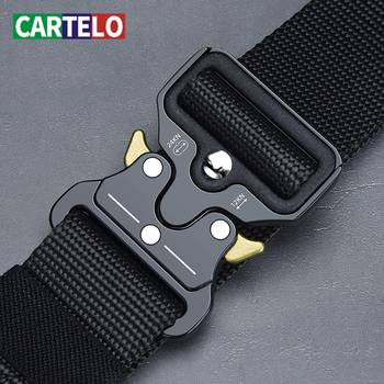 CARTELO Mens belt outdoor hunting metal tactical belt multi-function alloy buckle high quality Marine Corps canvas belt for men