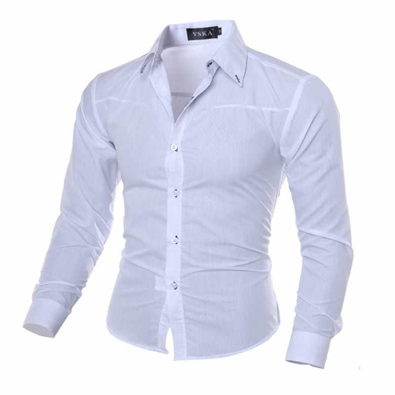 Visada Jauna Pria Gelap Butir Bisnis Kemeja Kotak-kotak Impor Kain Lengan Panjang Berkualitas Tinggi Camisa Masculina Casual Plus Ukuran 5XL
