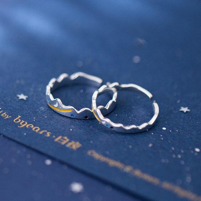Фото кольцо leouerry для пар из серебра 925 пробы с луной и звездами