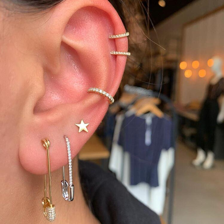 White Clear CZ Paved Safety Pin Earring 2021 Valentine's Day Gift Women Jewelry Gold Filled Untique Stack Multi Piercing Earring