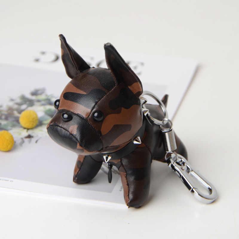 พวงกุญแจกระเป๋า Charm Trinket สัตว์ Bulldog พวงกุญแจ Pu หนังสุนัขน่ารักของขวัญ