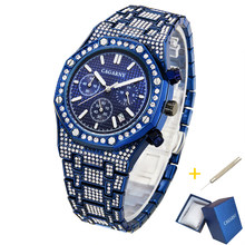 Quartz Watches For Men Cagarny Luxury Brand Iced Out Full Diamond Men Watch Hip Hop Classic Blue Waterproof Male Clock Auto Date