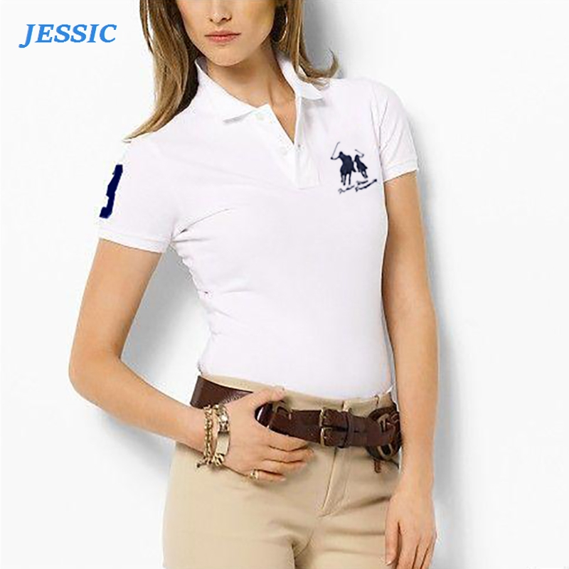JESSIC High Quality Summer New Lady Short Sleeve Polo Shirts Big Horse Casual Women Lapel Polos  Cotton Women Fashion Slim Tops