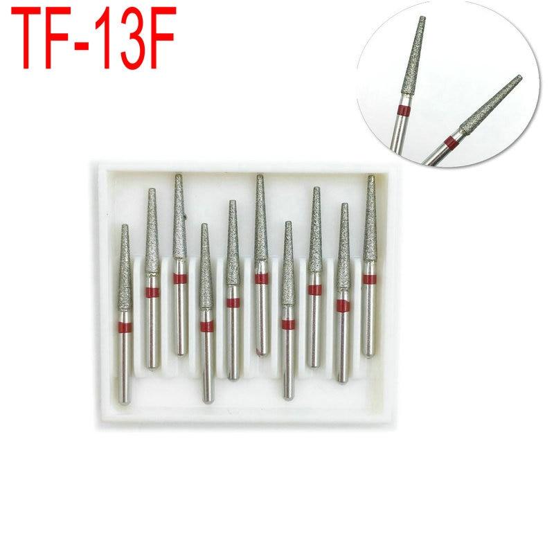 10pcs/box Diamond FG High Speed Burs For Polishing Smoothing Dental Burs Dentist Tool TF-13F