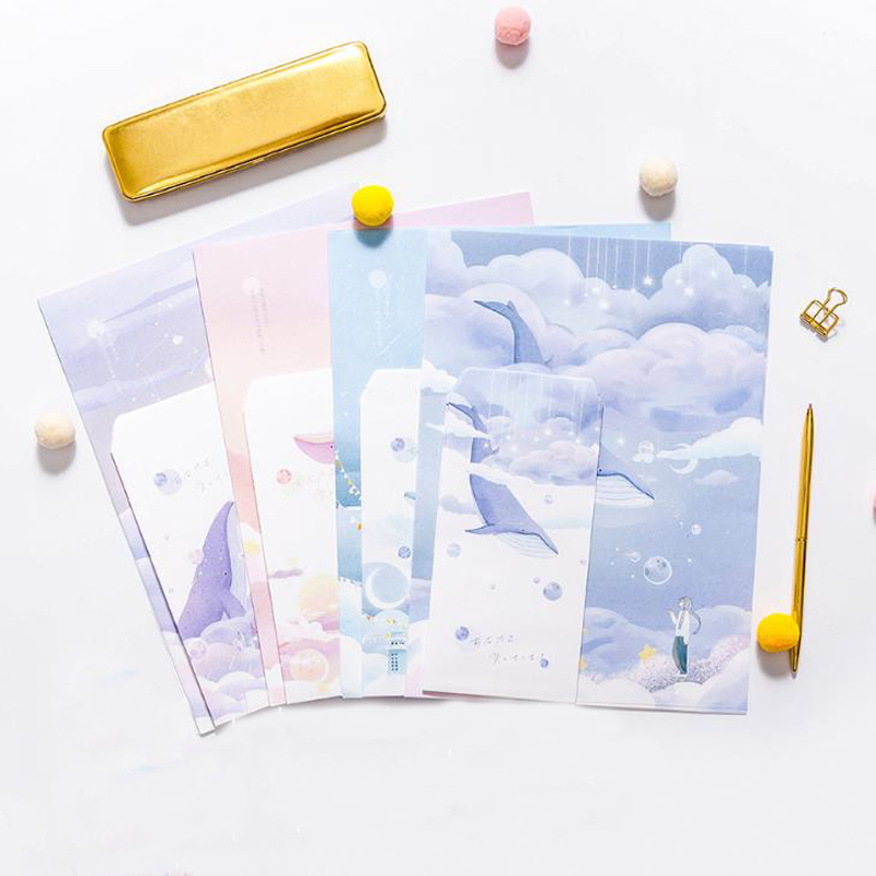 9 Pcs/pack Kawaii 3 Envelopes+6 Sheets Letters Universe And Whale Series Paper Envelope Letters Set For Gift Korean Stationery