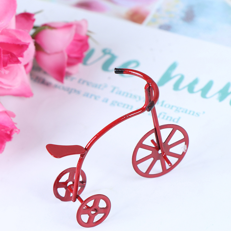 1/12 Mini Red Bicycle Simulation Bike Model Toys For Doll House Decoration Furniture Toys Cute Dollhouse Miniature Accessories