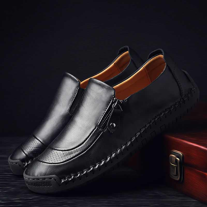 Image 5 - Valstone Men's Leather casual Shoes handmade Loafers vintage moccasin slip on Rubber flats Anti skid Zip opening Plus size 38 48-in Men's Casual Shoes from Shoes