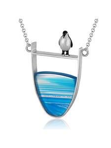 Fine-Jewelry Necklace Pendant Collier Penguin Agate-Gemstones 925-Sterling-Silver Lotus Fun