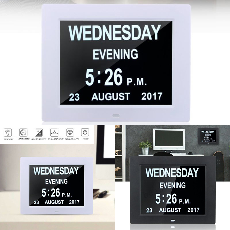 "8"" LED Large Digital Alarm Clock ABS Wall Hanging Calendar Date Time Display Table Clocks DC 5V 1A EU Adapter Desk Clock"