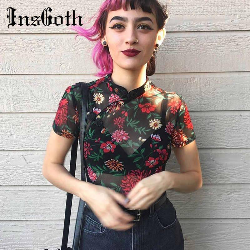 InsGoth ผู้หญิงเซ็กซี่ Crop TOP ดูผ่านตาข่ายดอกไม้พิมพ์สีดำหญิงเสื้อยืด Casual Streetwear TEE โกธิคเลดี้ VINTAGE TOP
