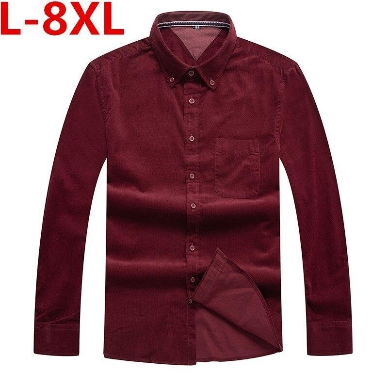 8XL 7XL 6XL Plus Size Fashion 100% Cotton Mens Long Sleeve Hawaiian Shirt Blue Color Autumn Winter Casual Clothes Shirts For Men