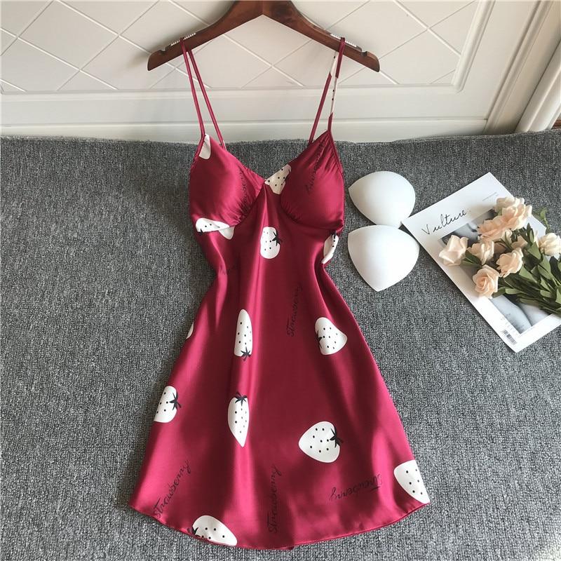 QWEEK Sleepwear Women Nightdress Chest Push Up Summer Silk Nightgown Nightwear Satin Home Dress Nighty For Ladies Night Dress
